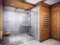 Szara łazienka z drewnem - elegancki pokój kąpielowy